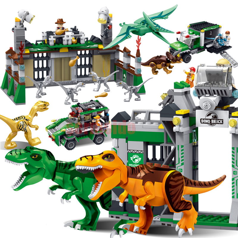 Jurassic World Park Legoings Dinosaur Raptor protection zone Building Blocks Sets Bricks Kids Toys For Children juguetes BKX96 mini jurassic world park fossil triceratops raptor skeleton building blocks sets bricks kids model kids creator toys marvel city