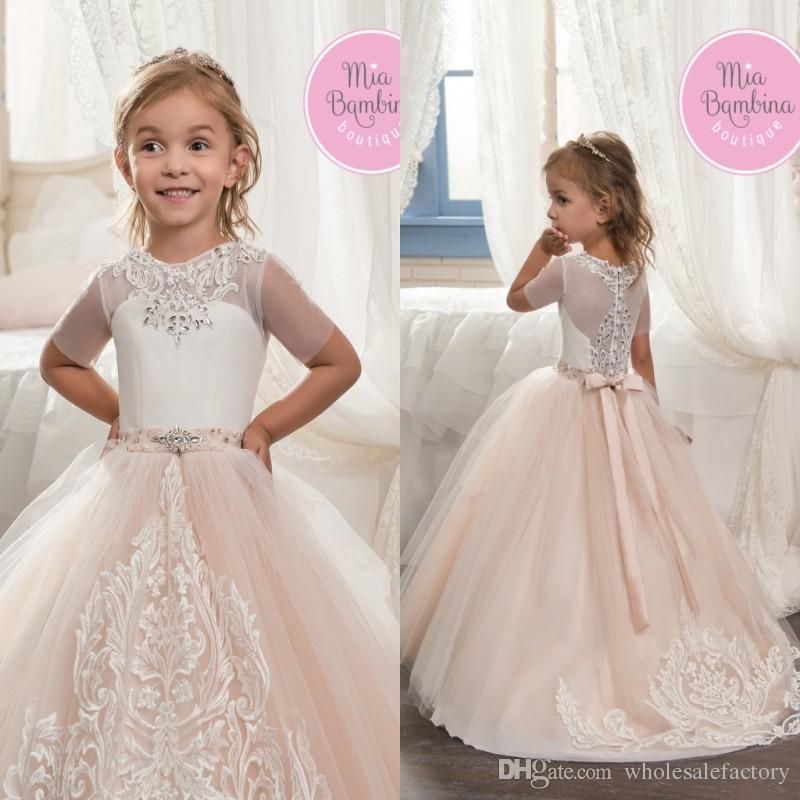 Buy baby kids white champagne flower girl for Baby girl dresses for weddings