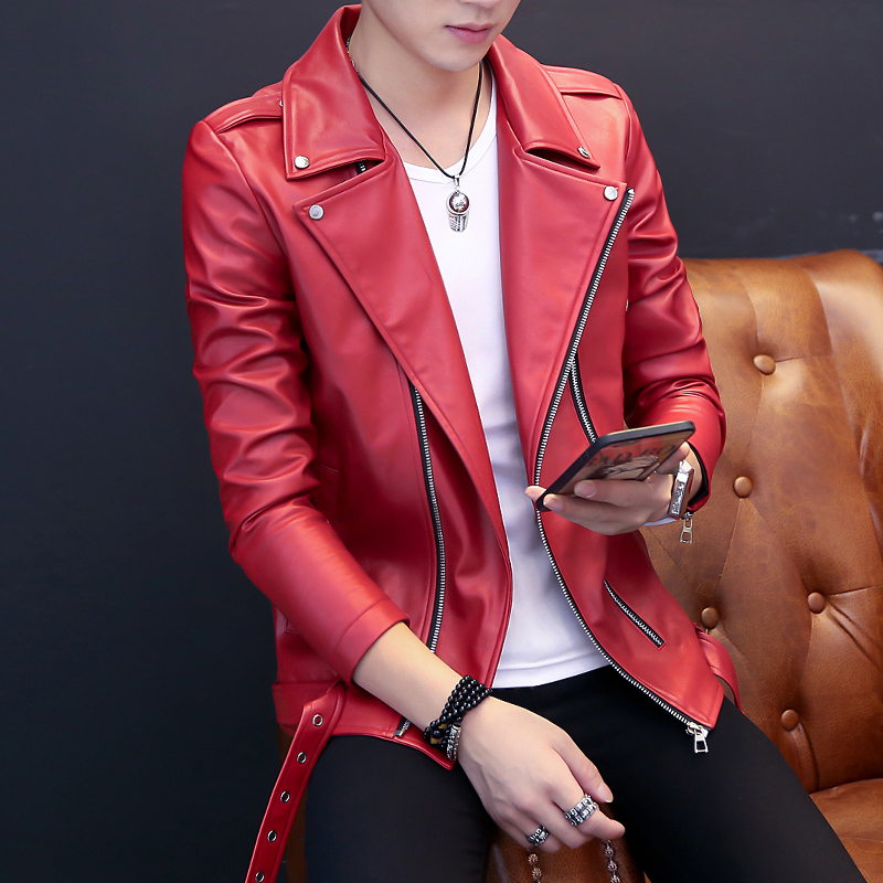 2018 New Teenage leather clothing male non-mainstream oblique zipper turn-down collar jacket long-sleeve slim outerwear
