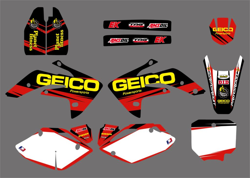 NEW GEICO Team Graphic Decal <font><b>Sticker</b></font> <font><b>Kits</b></font> For <font><b>Honda</b></font> CRF150R LIQUID COOLED CRF <font><b>150</b></font> R CRF150RL CRF150RB 2007-2016 2017 2018 image