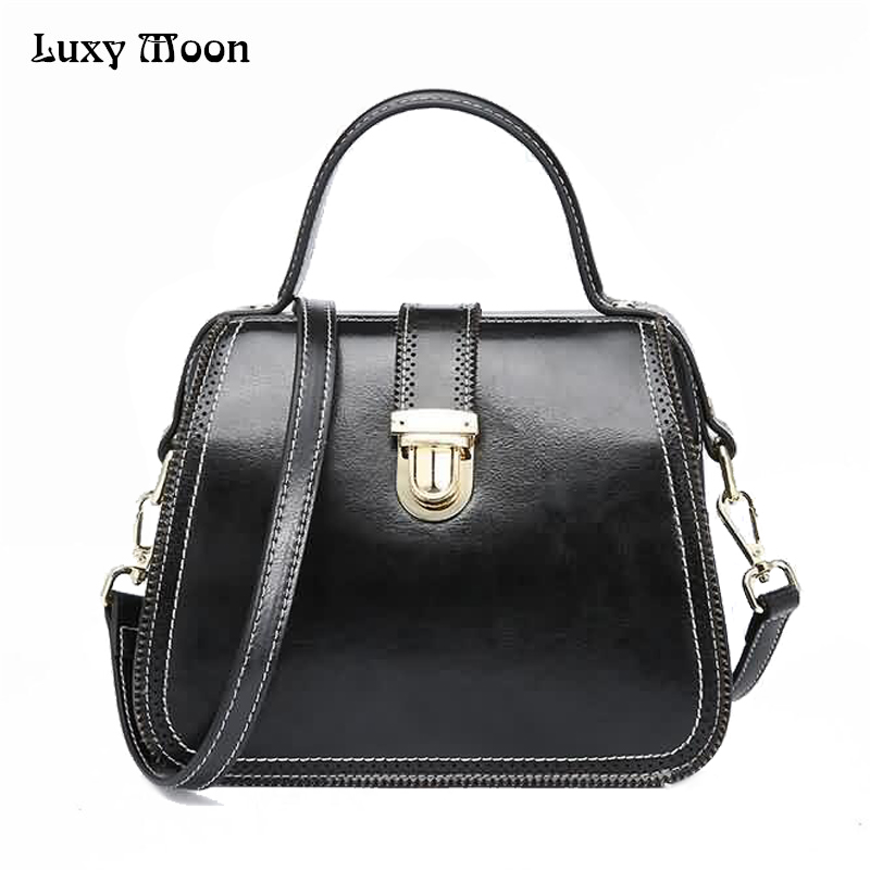 Luxy Moon Genuine Leather Women's Handbag New Retro Buckle Slid Top-Handle Larger Tote Female Messenger Bag Shoulder Bag ZD667 luxy moon women bag genuine leather composite bag women s handbag fashion casual cowhide larger tote female shoulder bag zd705