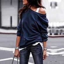 Autumn New Blouse Women Long Sleeve One Shoulder Solid Shirt
