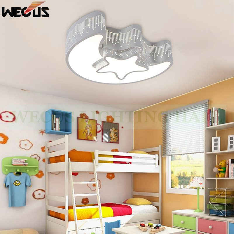 (Wecus) Creative star half moon led ceiling light 85-265V 30W led child baby room lights ceiling lamps bedroom decoration lights 2018 creative star half moon led ceiling light 85 265v 24w led child baby room lights ceiling lamps bedroom decoration lights