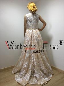 Image 5 - Real Photos Luxury Sequined Lace Evening Dresses Halter Hand Pleated Custom Made Vestido De Festa 2018 from Yousef Aljasmi