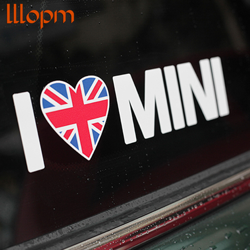 1pcs 19*3.5cm Car Body Car Windows Sticker I LOVE MINI For BMW MINI Cooper /S/ONE/Roadster/Clubman/Coupe Car Styling Accessories