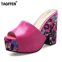 TAOFFEN Women Shoes Women Sandals Wedge Heels Platform Summer Shoes Leopard Slip On Slippers Trend Fashion