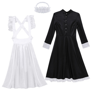 Image 5 - Sexy Adult Woman French Maid Servant Cosplay Costume Black&White Maid Costume Halloween Party Long Dress  + Apron + Headpiece