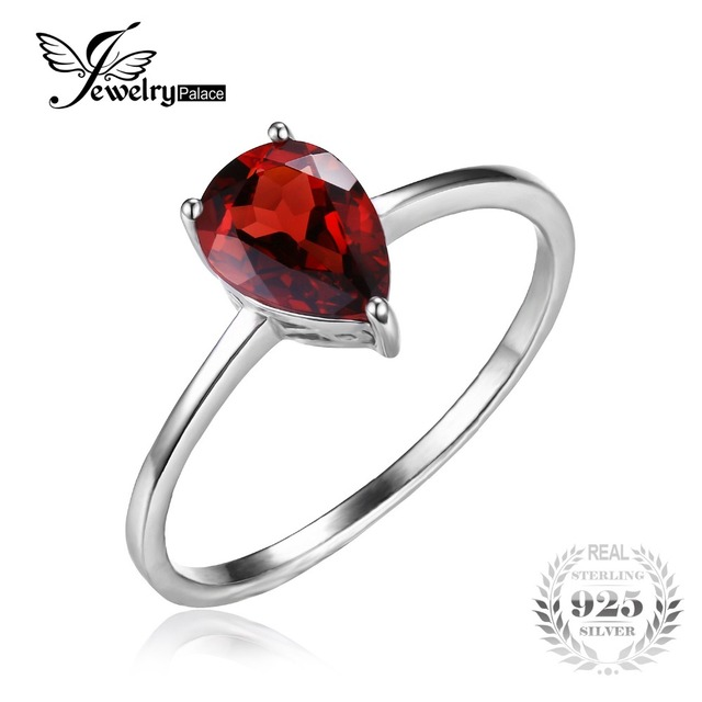 JewelryPalace Pear 1.4ct Natural Red Garnet Birthstone Solitaire Ring For Women Real 925 Sterling Silver Fine Jewelry Brand New