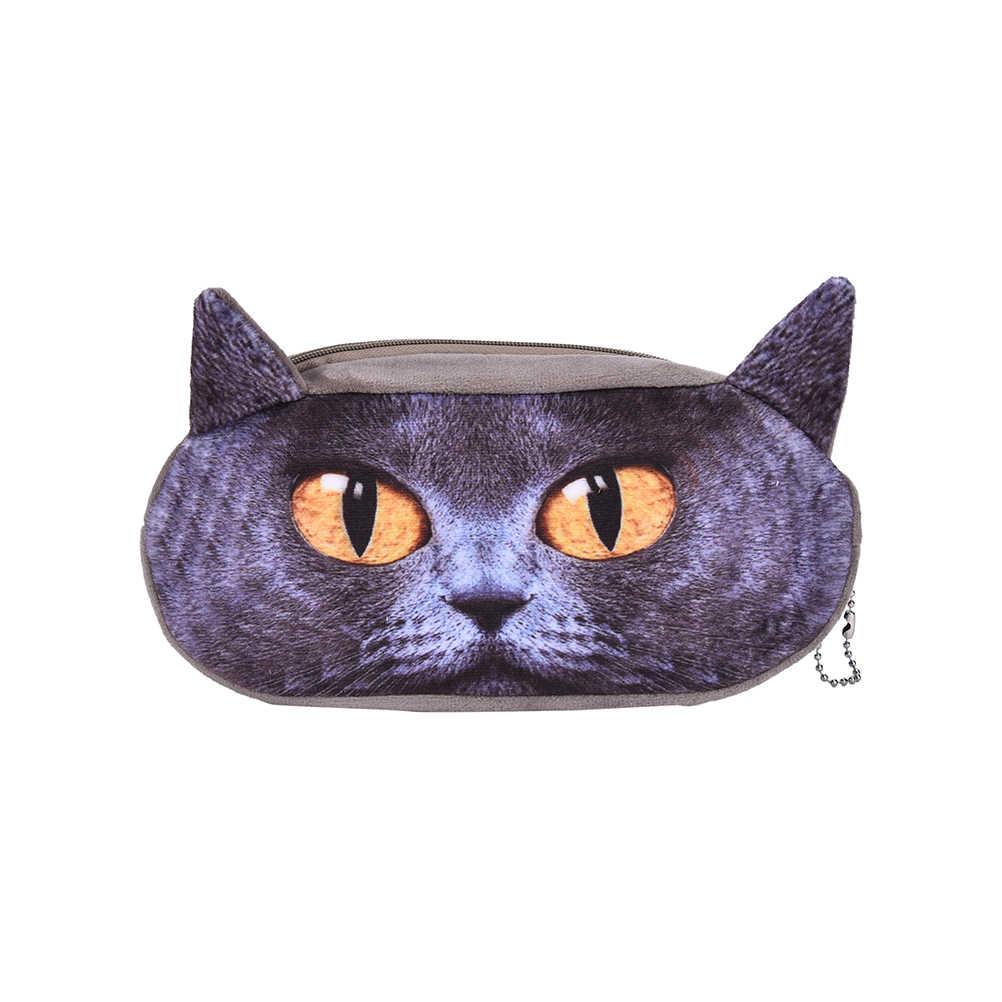 Sevimli Eşsiz 3D Hayvanlar Kawaii Kedi Köpek Okul Kalem Çantası Durumda Peluş Kumaş Kırtasiye Makyaj Çantası Öğrenci Okul Malzemeleri
