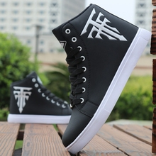 Fashion PU Leather Men Shoes Casual Light Breathable Sneakers Male High