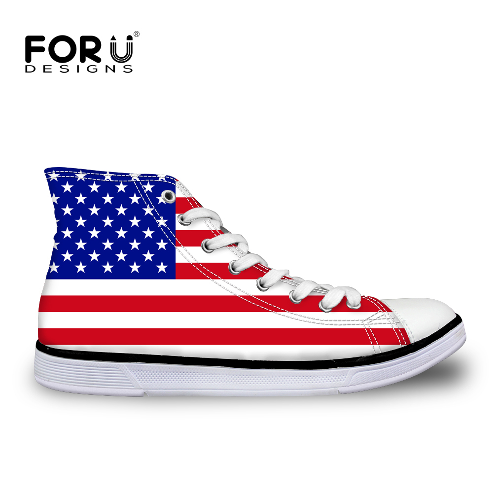 FORUDESIGNS 3D USA UK Flags Prints High Top Leisure Canvas Shoes for Women Fashion Spring Vintage High-top Vulcanize Shoes Woman page flags green 50 flags dispenser 2 dispensers pack