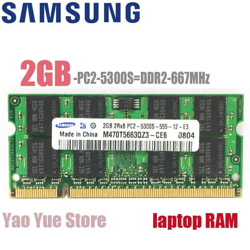 Samsung Laptop Notebook 2GB 2G 2RX8 5300S 6400S 5300 6400 DDR2 667 800 MHZ 667MHZ 800MHZ Module ECC memory RAM