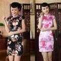 Vintage Retro Slim Women Chinese Cheongsam Dress QiPao Short Flower Silk Printing Evening Party Dresses Black White Pink