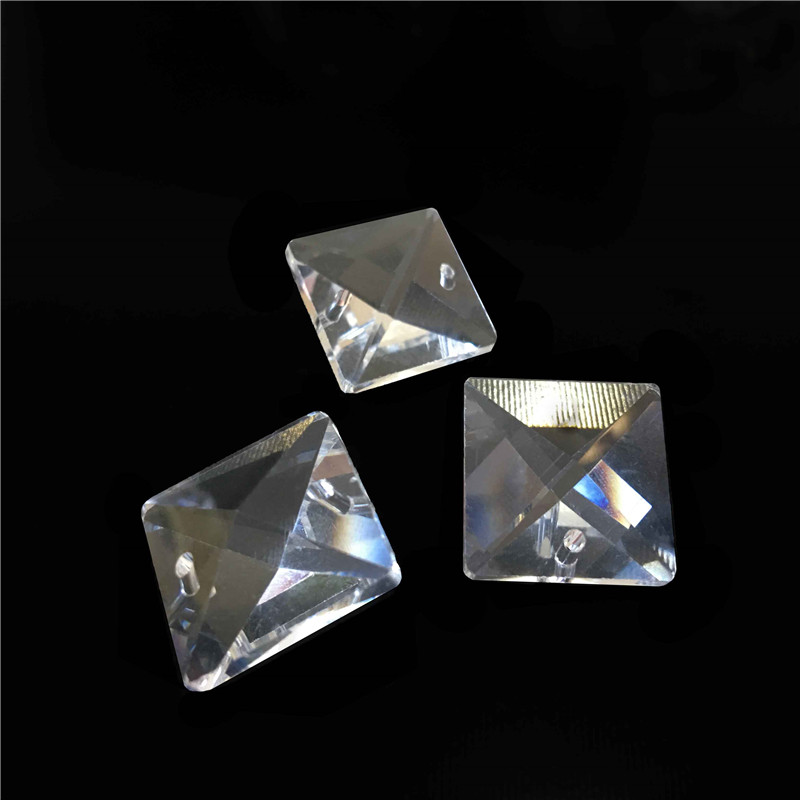 50pcs/lot 14mm Lighting Prism Parts Square Beads In 2 Holes Diy Wedding Chandelier Lamp Beads Dress The Christmas Trees Year-End Bargain Sale Lights & Lighting