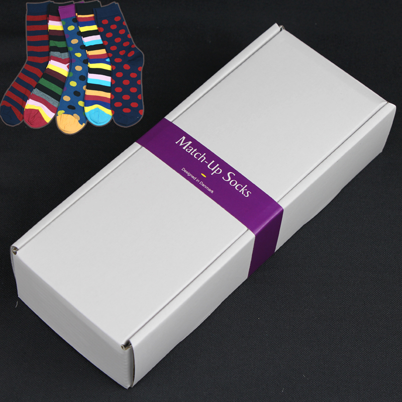 New arrival wholesale Customized Men's gift box combed cotton socks US Size(7.5 12) (5 pairs / lot )