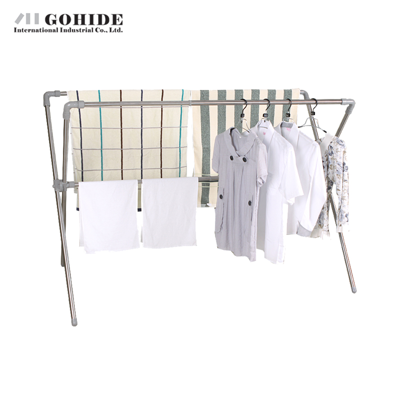Gohide Stainless Steel Landing Folding Drying Rack Double-Pole Rack Fashion Hangers Coat Racks Folding Furniture