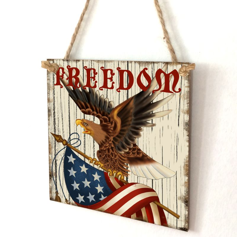 Image 2 - Vintage Wooden Hanging Plaque Freedom Sign Board Wall Door Home Decoration Independence Day Party Gift-in Plaques & Signs from Home & Garden