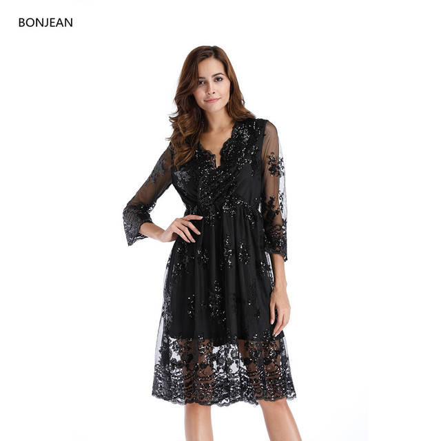 a36e200f0d19a 2018 Promotion Top Fashion Solid Long Dress Robe Free Shipping2018 Spring  And Europe The Sexy V-neck Big Pearl Sequins Dress