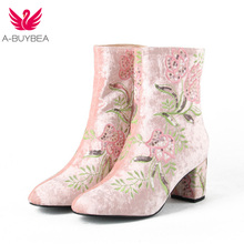 A-BUYBEA 2018 New Fashion Embroidery High boots Women Ankle Boots Heels Velvet Shoes Winter Large size 33-43