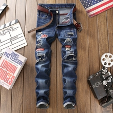 2019 Ripped jeans men hole distressed patchwork cotton straight brand jean embroidery blue homme denim trousers plus size 29-38 fashion mens blue ripped patch jeans brand designer distressed denim joggers for man patchwork slim fit torn jean trousers lq080