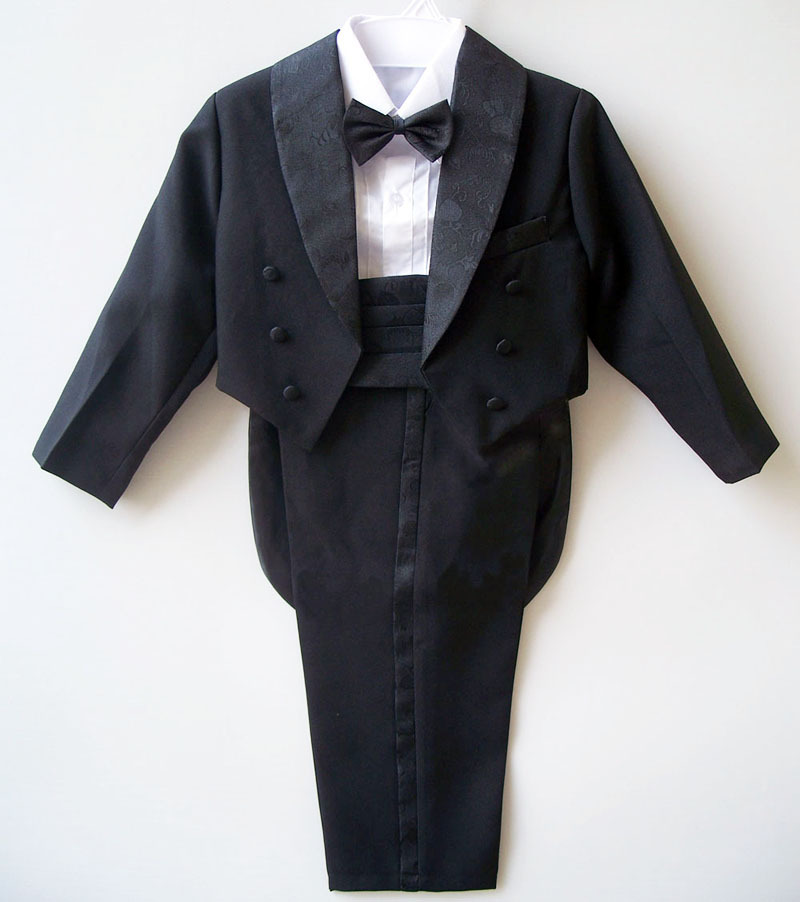 100% Real Photo Baby Boy Formal Blazer Prom Wedding Suits Black/White Jacket+Shirt+Pant+Girdle+Bow Tie 5pcs Sets Kid Clothes