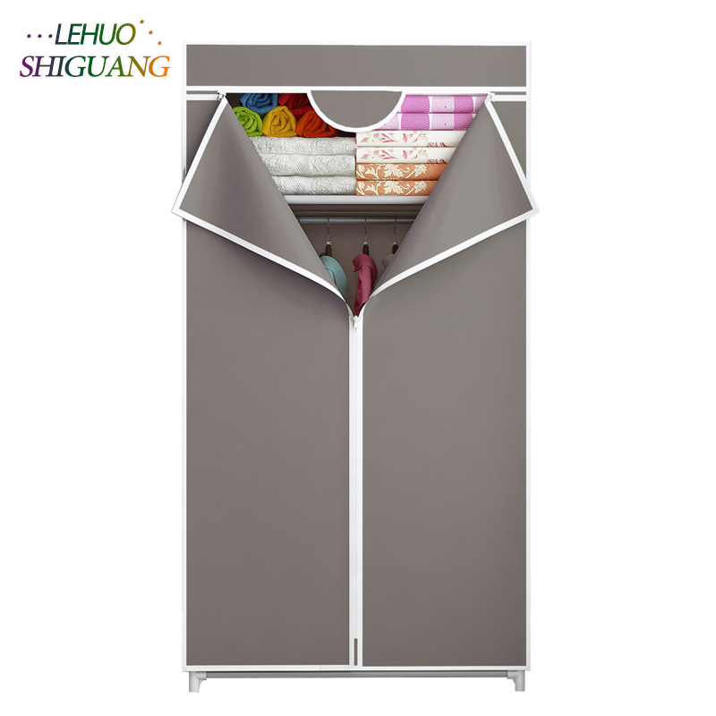 Elegant Wardrobe Fabric Steel Frame Reinforcement Standing Clothes Storage Organizer Clothes Cabinet for Cloakroom Locker Room