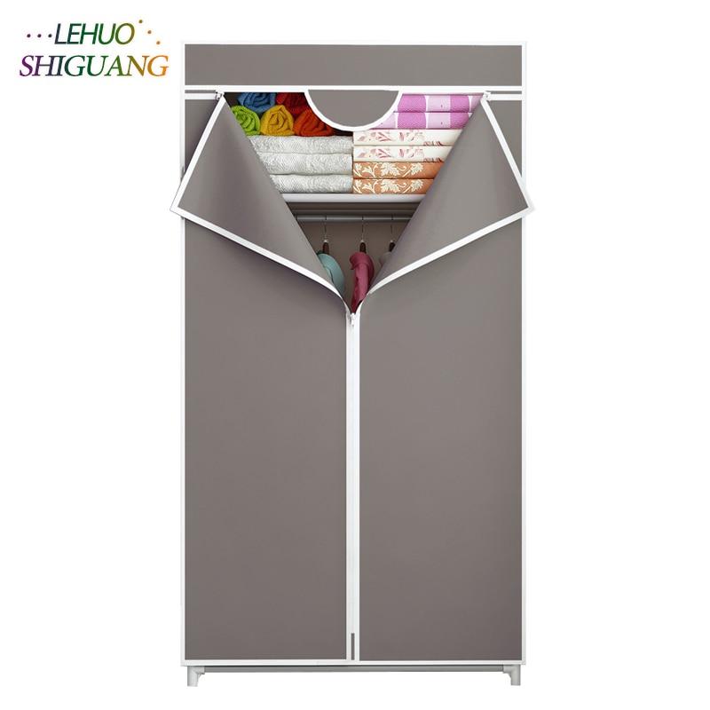 Elegant Wardrobe Fabric Steel Frame Reinforcement Standing Clothes Storage Organizer Clothes Cabinet For Cloakroom Locker Room