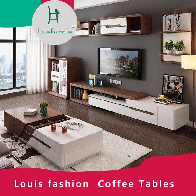 Louis moda Mesas de Café Nórdico Chá Moderna Sala de estar Simples Multifuncional Flexível e Conjunto Gabinete