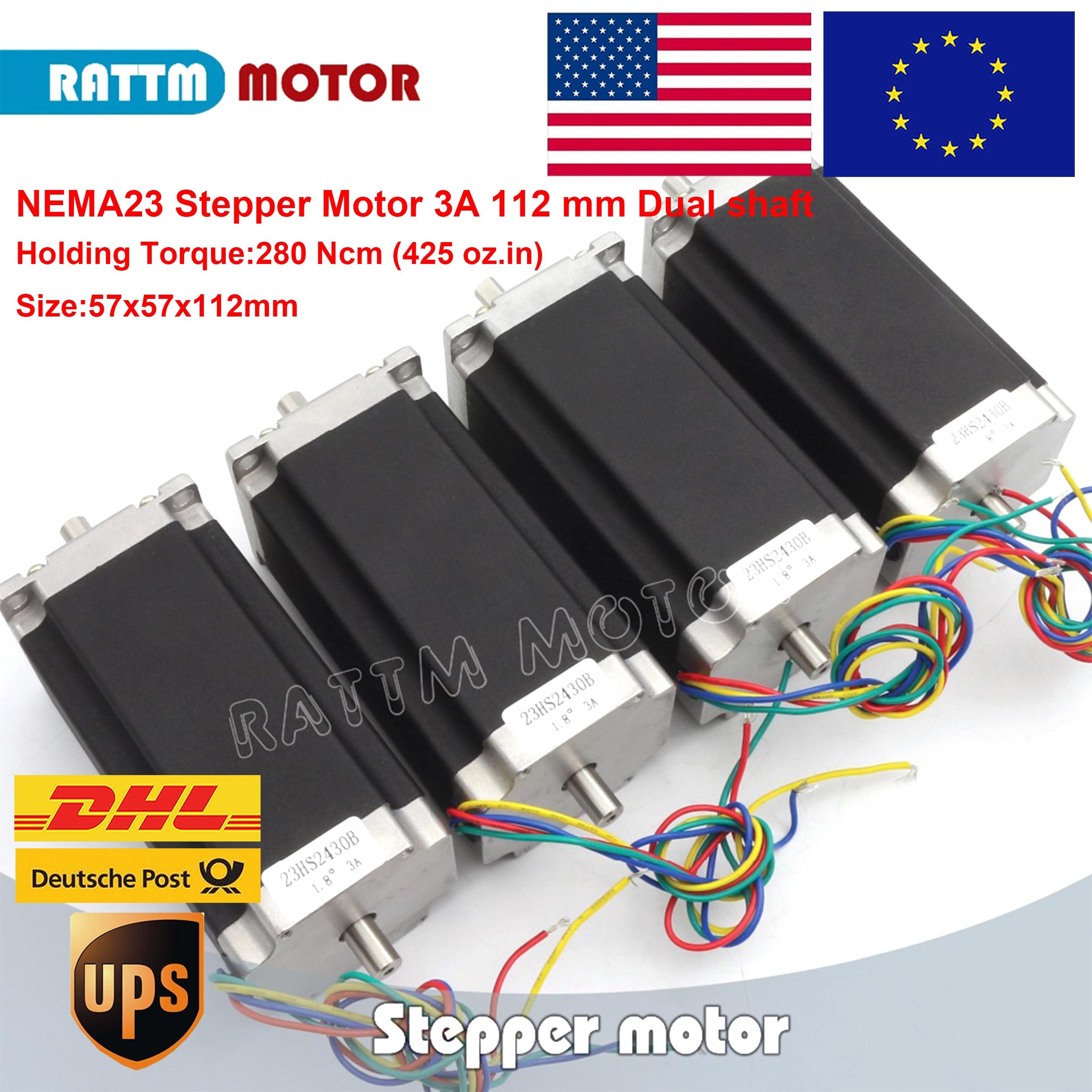 4pcs Nema 23 stepper motor Dual shaft 57x112mm 2.8N.cm 425 Oz-in 4 wires 3A for 3D printer parts CNC engraving machine 23HS2430B