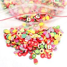 500/1000pcs Fruit slices Filler For Nails Art Tips Slime Fruit For Kids DIY slime Accessories Supplies Decoration Soft pottery(China)