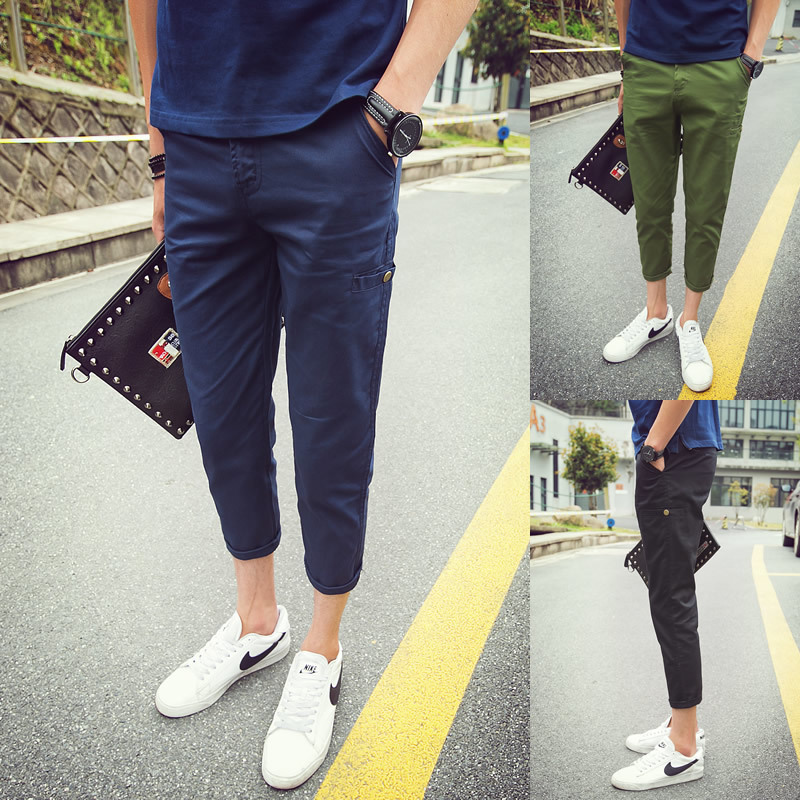 Street China Online Retailers A088-K131-P25 100% Cotton New Self-cultivation Will Code Leisure Time Male Bound Feet Pants