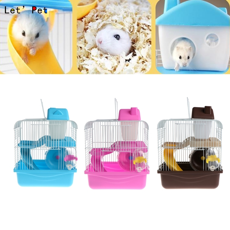 2 Floors Storey Hamster Cage Mouse House With Slide Disk Spinning Water Bottle