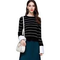 Women Striped Sweaters Shirt Cuff Patchwork Girls Bottoming Knitted Sweater O Neck Female Casual Sweater Autumn Pullover Tops