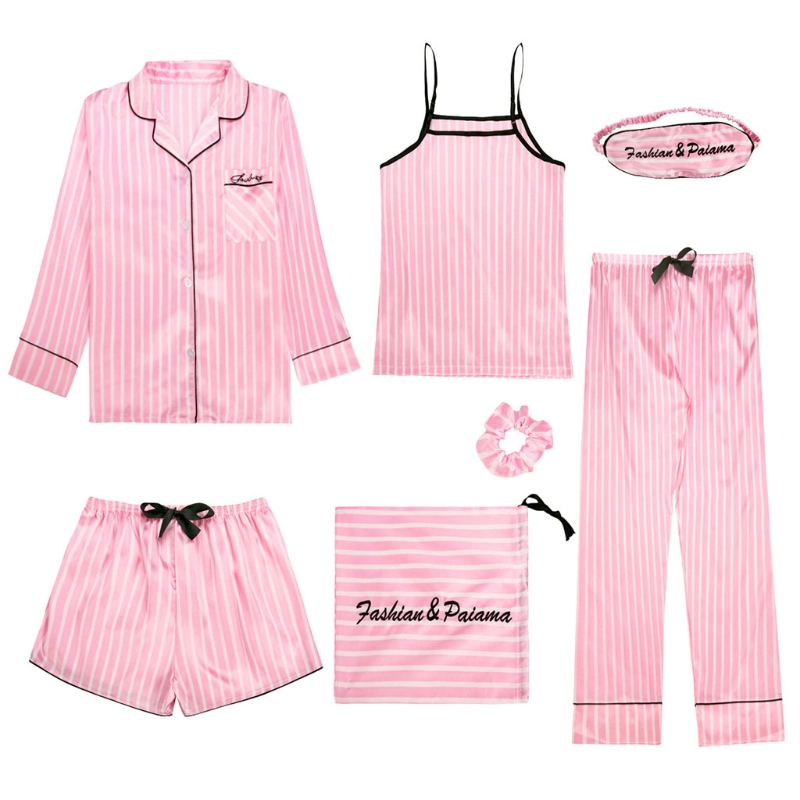 7Pcs   Pajamas     Set   Women Casual Faux Silk Sleepwear Striped Cute Lingerie Pink New N20_E