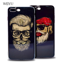 The New Tide card Cartoon Cool Glasses Old man Bling Silicone soft cover For iPhone 6 6S 7 Plus Phone Back cases Accessories