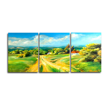 Laeacco 3 Panel Nordic Spring Green Grass Rural Posters and Prints Wall Art Canvas Painting For Living Room Home Decor