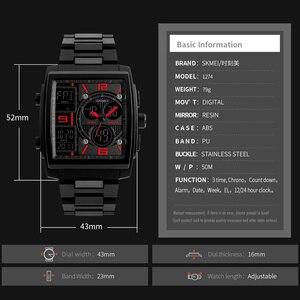 Image 5 - SKMEI montres de sport créatives hommes en acier inoxydable maille mode horloge mâle Top marque de luxe montre numérique Relogio Masculino 1274