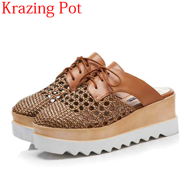 2019 Fashion Genuine Leather Slip on Outside Slipper Handmade Straw Thick Bottom High Heel Breathable Hollow