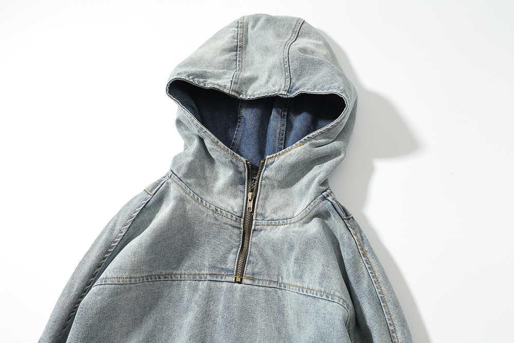 2018 Yeni Varış Denim boy yüksek sokak Gevşek mavi kot Ceket Hip Hop vintage Erkekler Balıkçı Yaka günlük kot Hoodies Ceketler