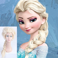 Yellow Long Straight Anime Queen Elsa Cosplay Harajuku Women's Wigs 80cm Cheap Braided Synthetic Hair Women Blonde Wig Hot Sale