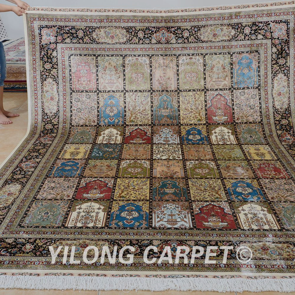 Yilong 5 X8 Light Color Traditional Persian Design Rug Handmade Silk Carpet