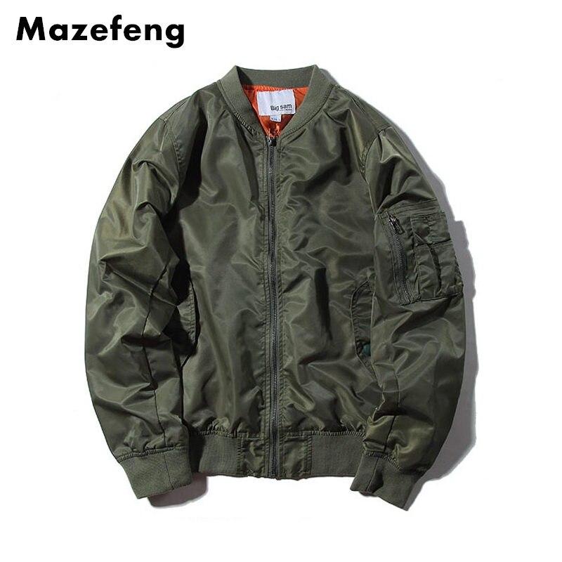 Mazefeng Ma1 Bomber Jacket 2017 Spring jackets Pilot Outerwear Men Army Green jackets Men Coat Streetwear Solid jackets Male