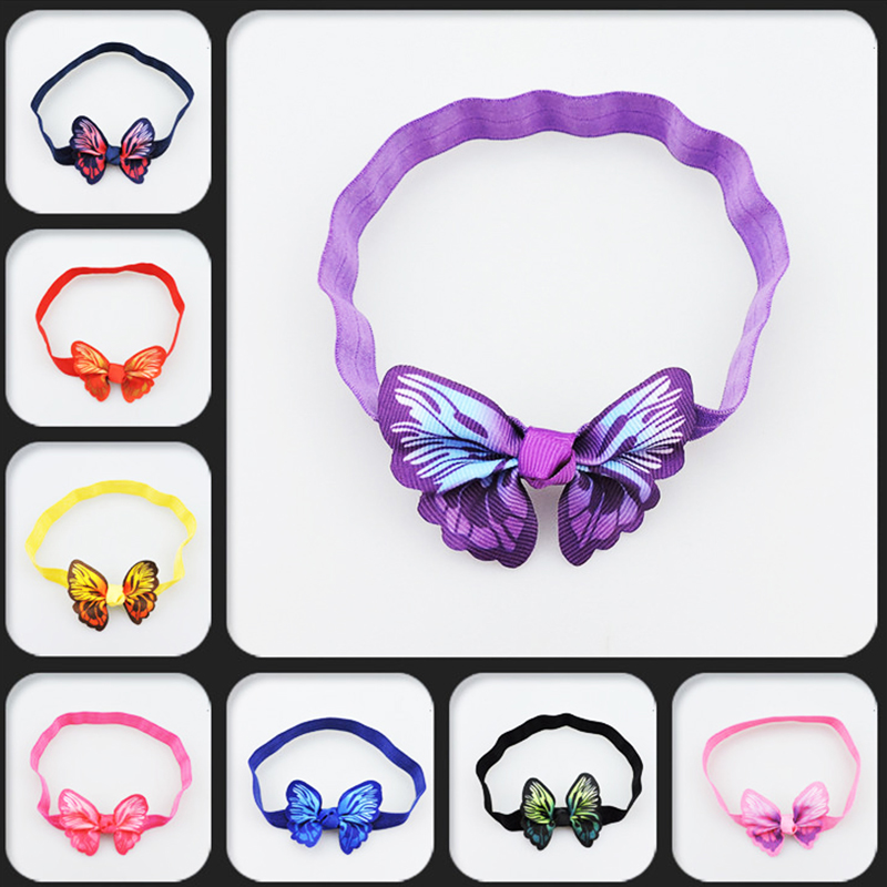 где купить  Lovely Children elastic stretch hair band Tie Bow simulation butterfly kids headbands tiara cute girl hair accessories headdress  дешево