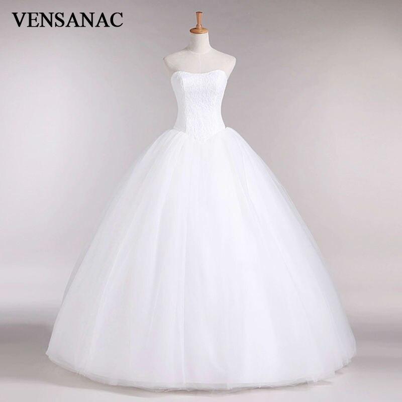 VENSANAC Новинка 2017 года трапециевидной формы кружево Милая с открытыми плечами без рукавов Белый атлас свадебное платье свадебное 30335