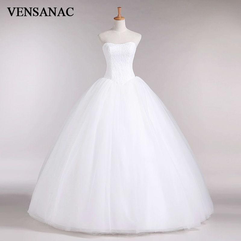 VENSANAC 2017 New A Line Lace Sweetheart Off the shoulder Sleeveless White Satin font b Bridal