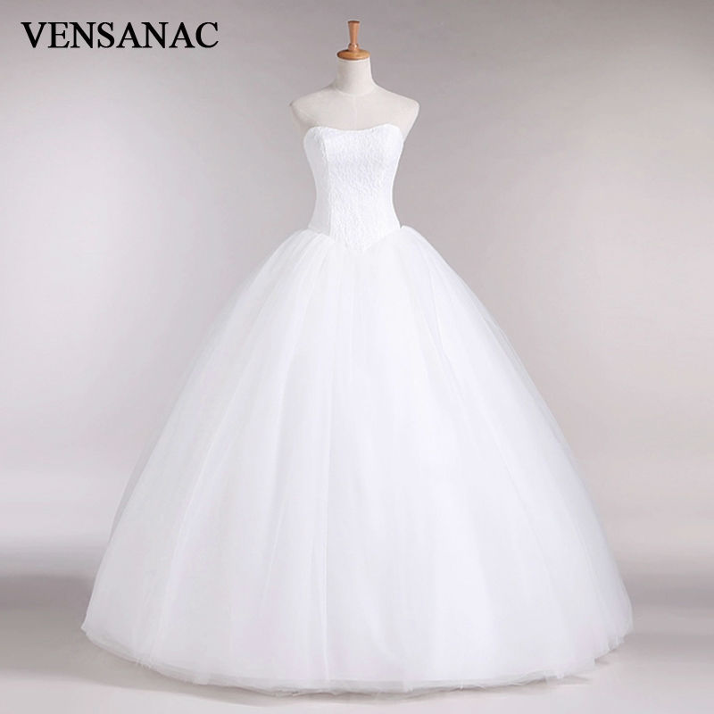 VENSANAC 2017 nouvelle ligne dentelle chérie hors de l'épaule sans manches blanc Satin robe de mariée de mariée robe de mariée 30335