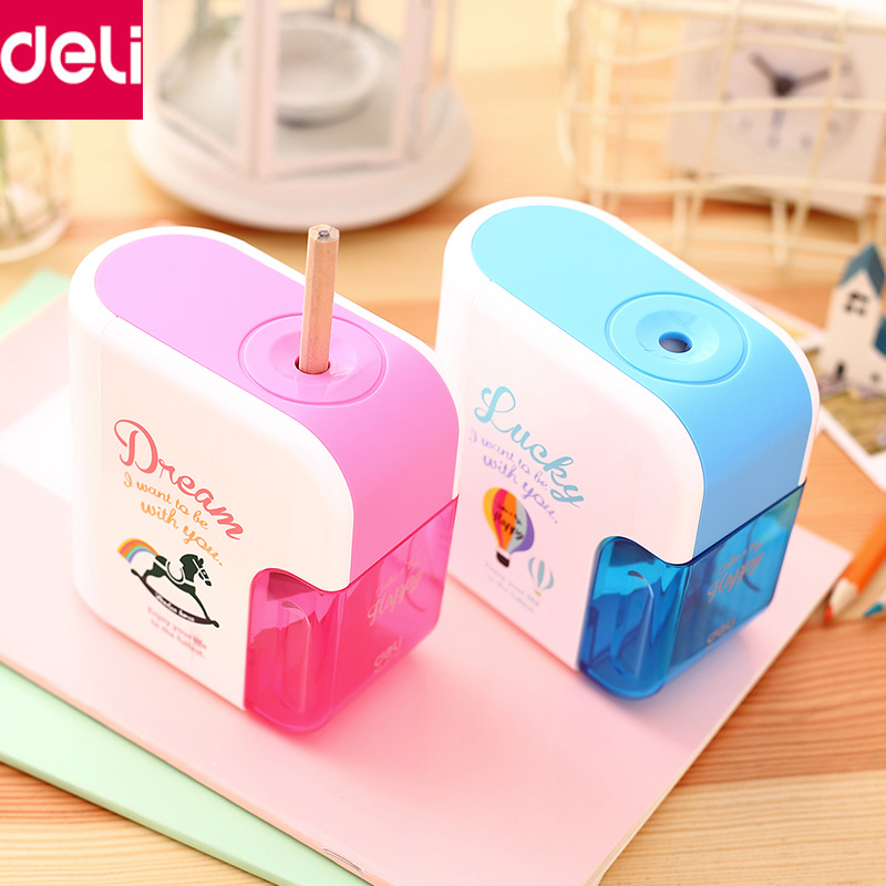 Deli Stationery 1pcs Electric Helical Steel Blade Pencil Sharpener Pencil Cutter Machine Rewading Gift Office School Supplies deli 0620 manual pencil sharpener heavy duty quiet for office home and school school chancery stationery desk clamp included