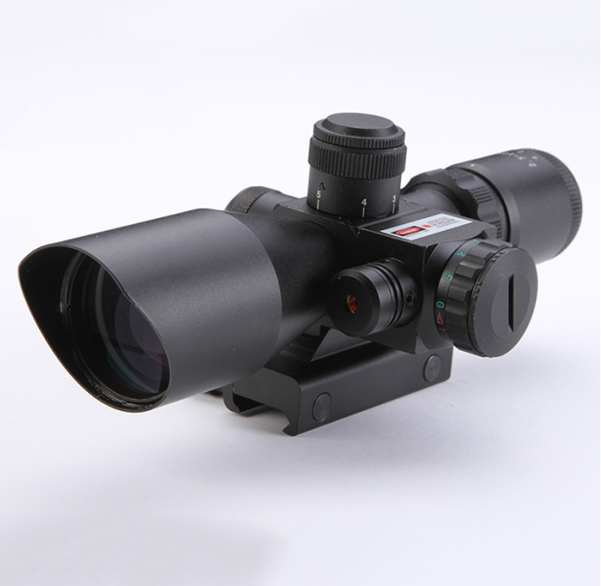 Hot sale 2.5-10X40 Riflescope Illuminated Tactical Riflescope with Red Laser Scope Hunting Scope free shipping 2 5 10x40 riflescope illuminated tactical riflescope with red laser scope hunting scope