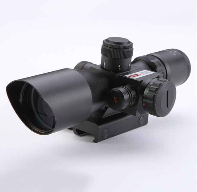 Hot sale 2.5-10X40 Riflescope Illuminated Tactical Riflescope with Red Laser Scope Hunting Scope