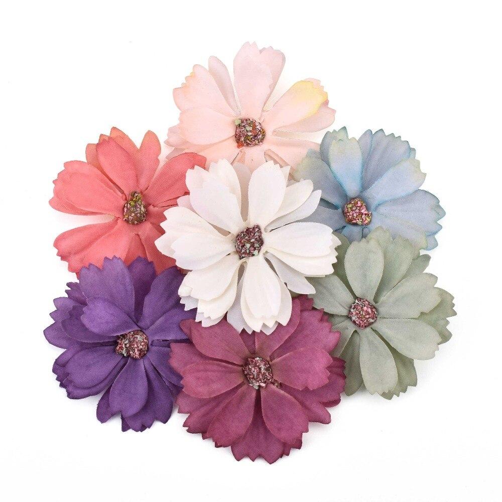 50 шт в наборе, 5 см, пластмассовые цветы, искусственные цветы для вечерние украшения аксессуары для скрапбукинга венок DIY головные дешевые по...